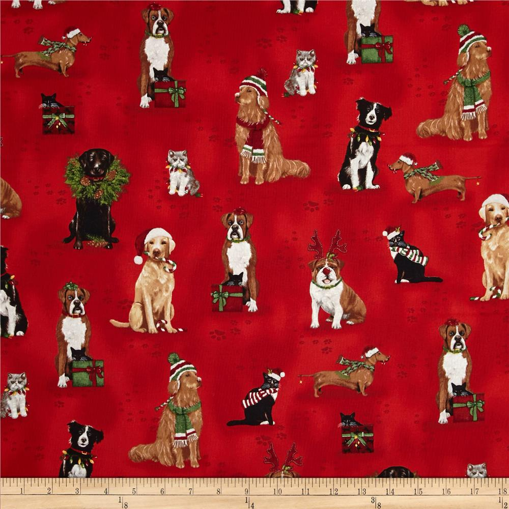 Kaufman Holly Jolly Christmas Holiday Dogs & Cats Holiday ...
