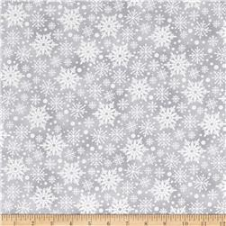 Holiday Meadow Snowflakes Dark Gray