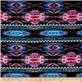 Hatchi Lightweight Sweater Knit Tribal Diamond and Triangles Pink/Turquoise/Black