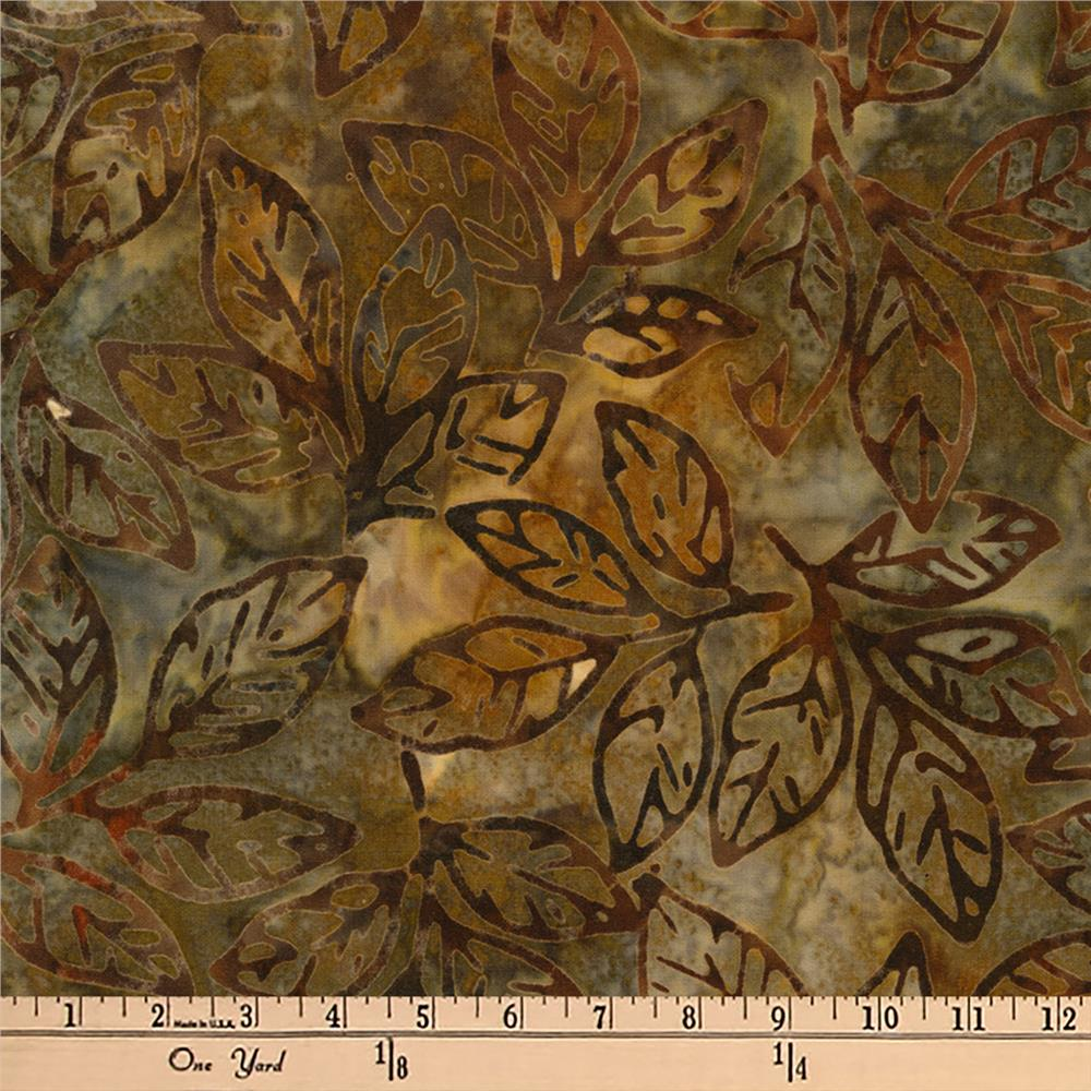 Kaufman Batiks Cornucopia 8 Leaf Stem Earth