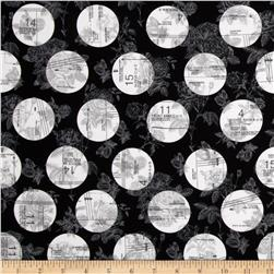 Riley Blake Sew Charming Circles Black Fabric