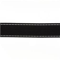 "May Arts 1 1/2"" Grosgrain Stitched Edge Ribbon Spool Black/White"