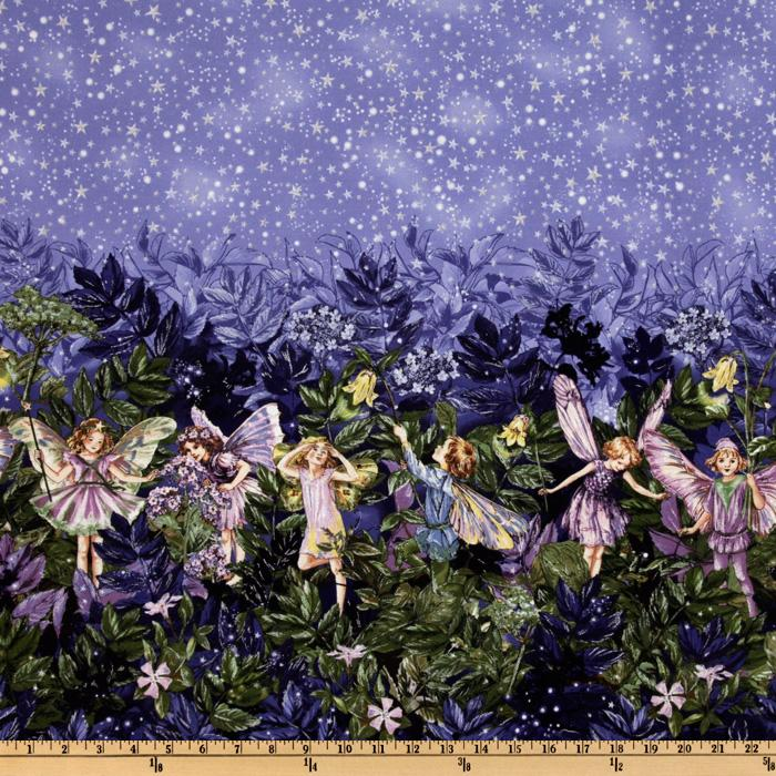 Michael Miller Night Flower Fairies Double Border Stripe