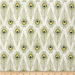 Timeless Treasures Exotic Metallic Peacock Feathers Cream
