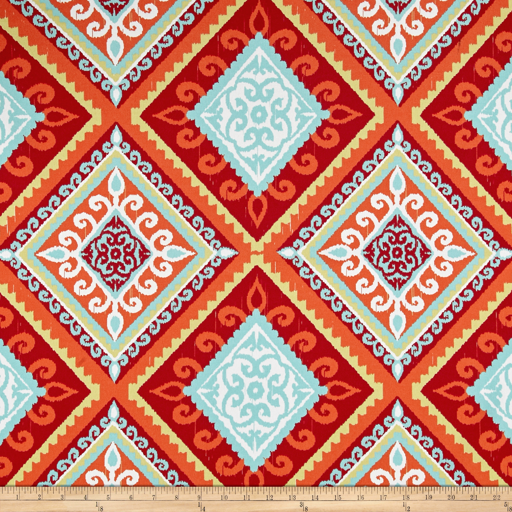 Terrasol Outdoor Spanish Tile Red/Orange Fabric by Tempro in USA