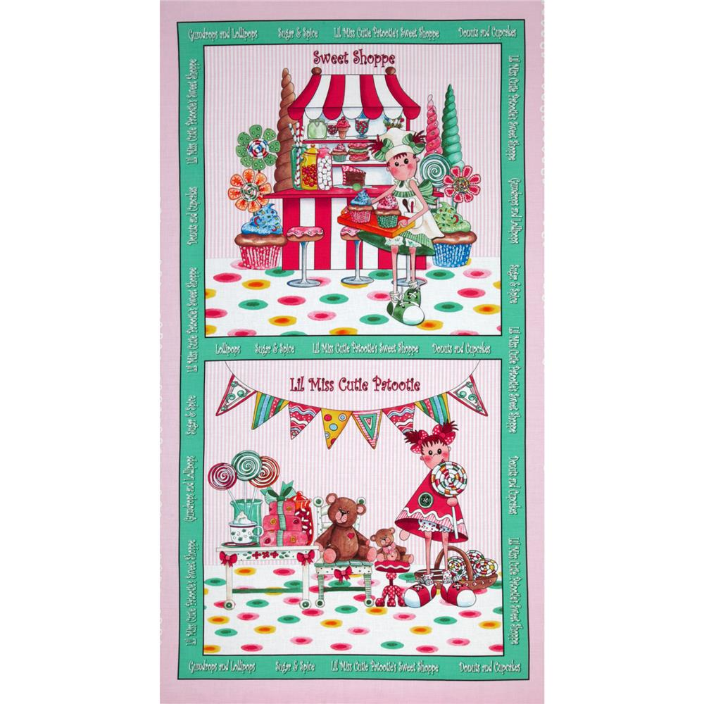 Gumdrops & Lollipop Sweet Shoppe Panel Pink