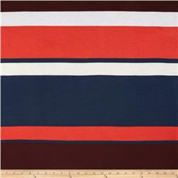 Tissue Rayon Jersey Knit Stripes Wine/Navy