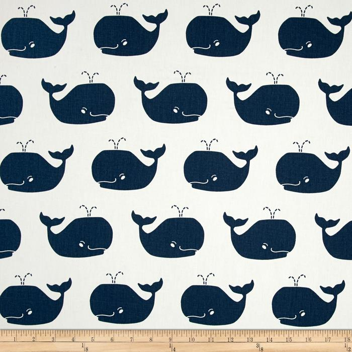 Premier prints whale tales twill white premier navy for Whale fabric