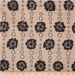 Bartow Indoor/Outdoor Strip of Poppies Black/Natural Fabric