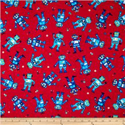 Rockets & Robots Small Robots Red Fabric