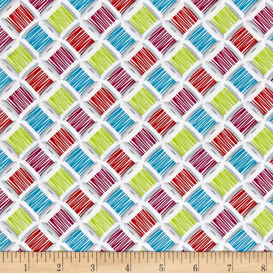 Sew much fun spools white discount designer fabric for Cheap sewing fabric