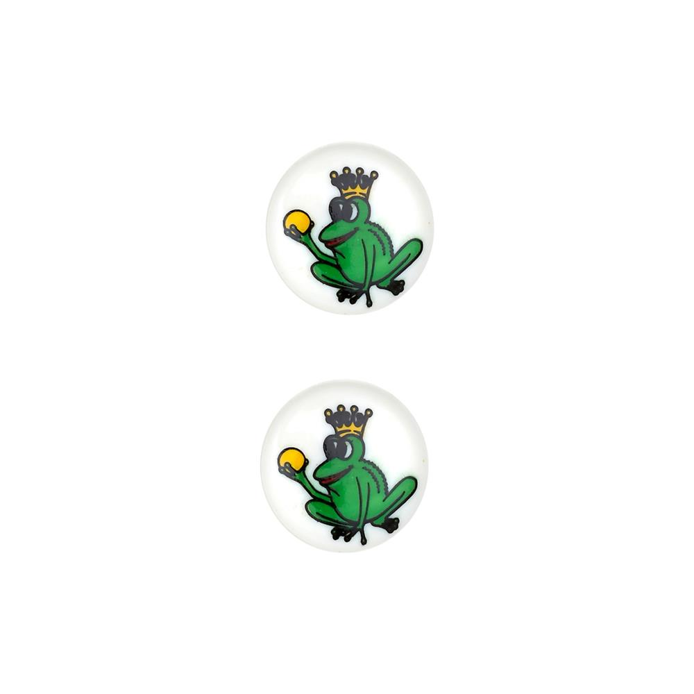 Dill Novelty Button 11/16'' Frog Prince White