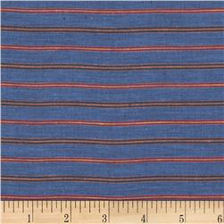 100% European Linen Striped Shirting Southwest Blue