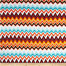 Rayon Spandex Knit  Chevron Orange/White/Turquoise
