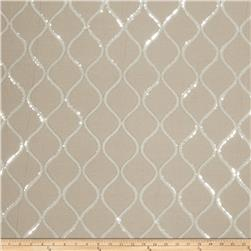 Fabricut  Sequinned Embroidered Cubillas Shimme Linen Silver