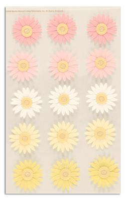 Martha Stewart Crafts 3 Dimensional Stickers Daisy Pink/Yellow
