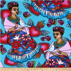 Folk Art Frida Fleece Turquoise