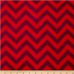 Fleece Chevron Red/Wine Fabric