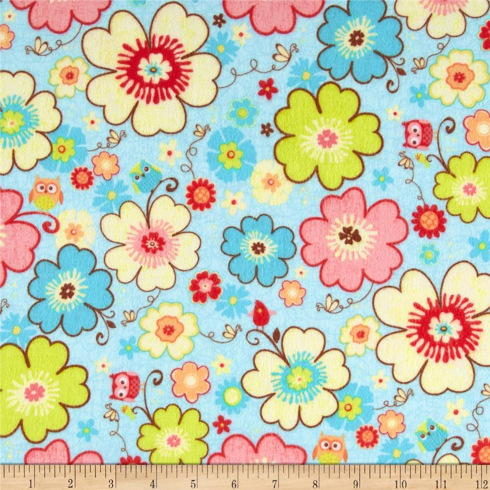 Riley Blake Happy Flappers Flannel Main Blue