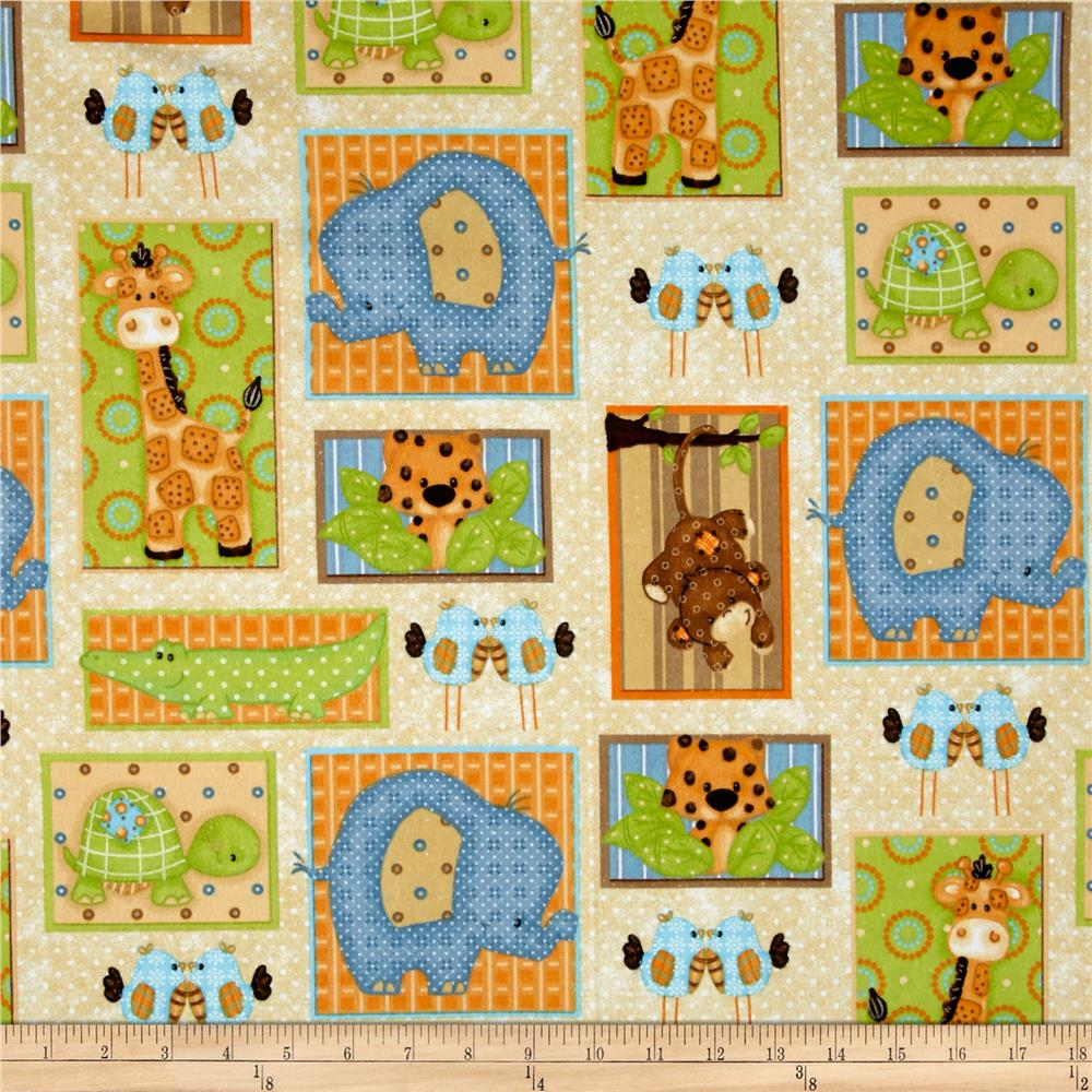 Comfy  Flannel Jungle Blocks Multi