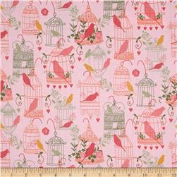 Timeless Treasures Bird Cages Pink