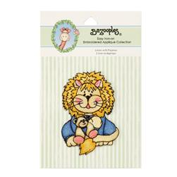 Iron-On Embroidered Applique Bazooples Lester Lion In Pajamas
