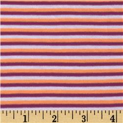 Designer Rayon Jersey Knit Yarn Dyed Stripe Plum/Orange