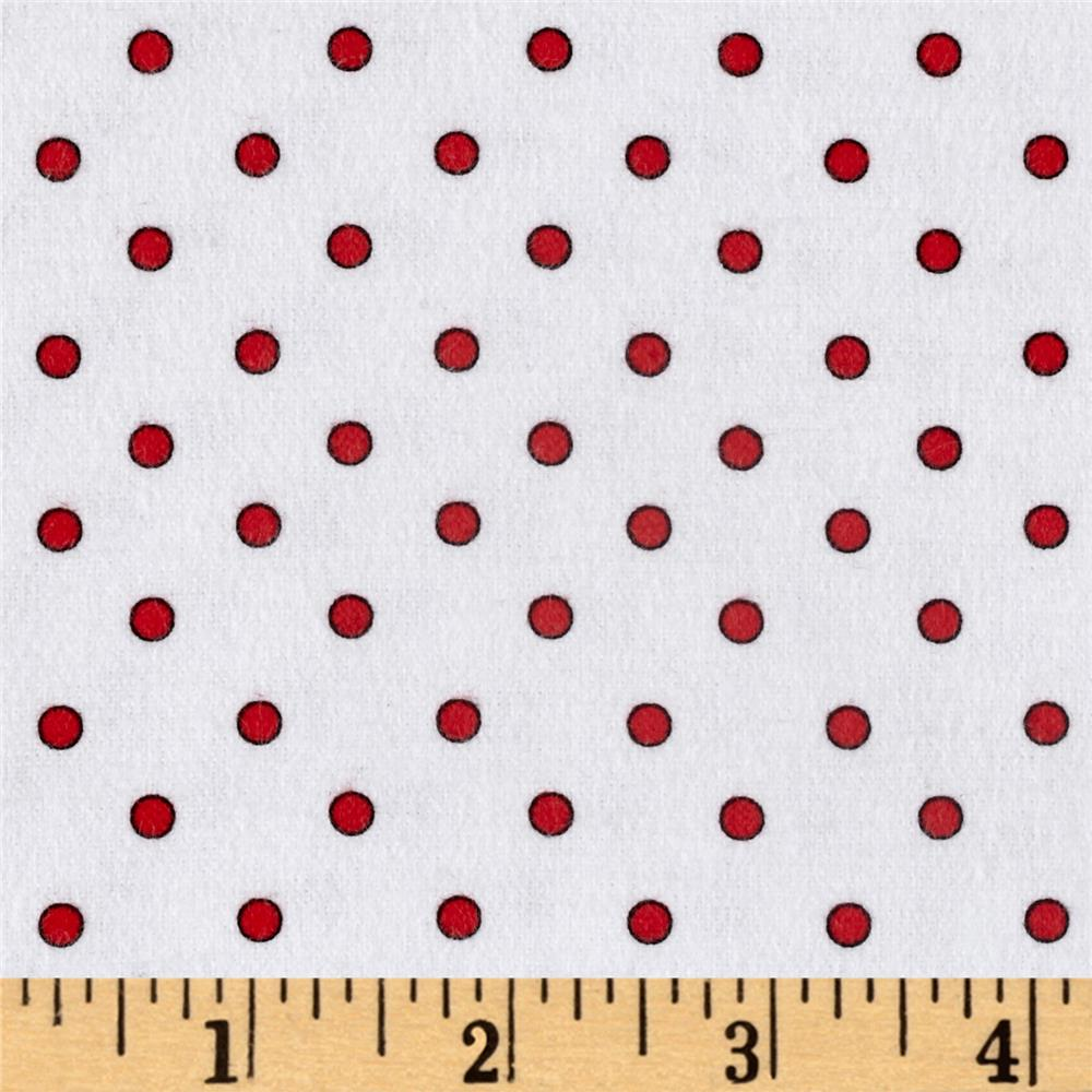Zoo Mates Flannel Small Dot White/Red Fabric