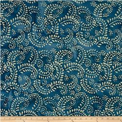 Indian Batik Hollow Ridge Scroll Vine  Blue/Natural