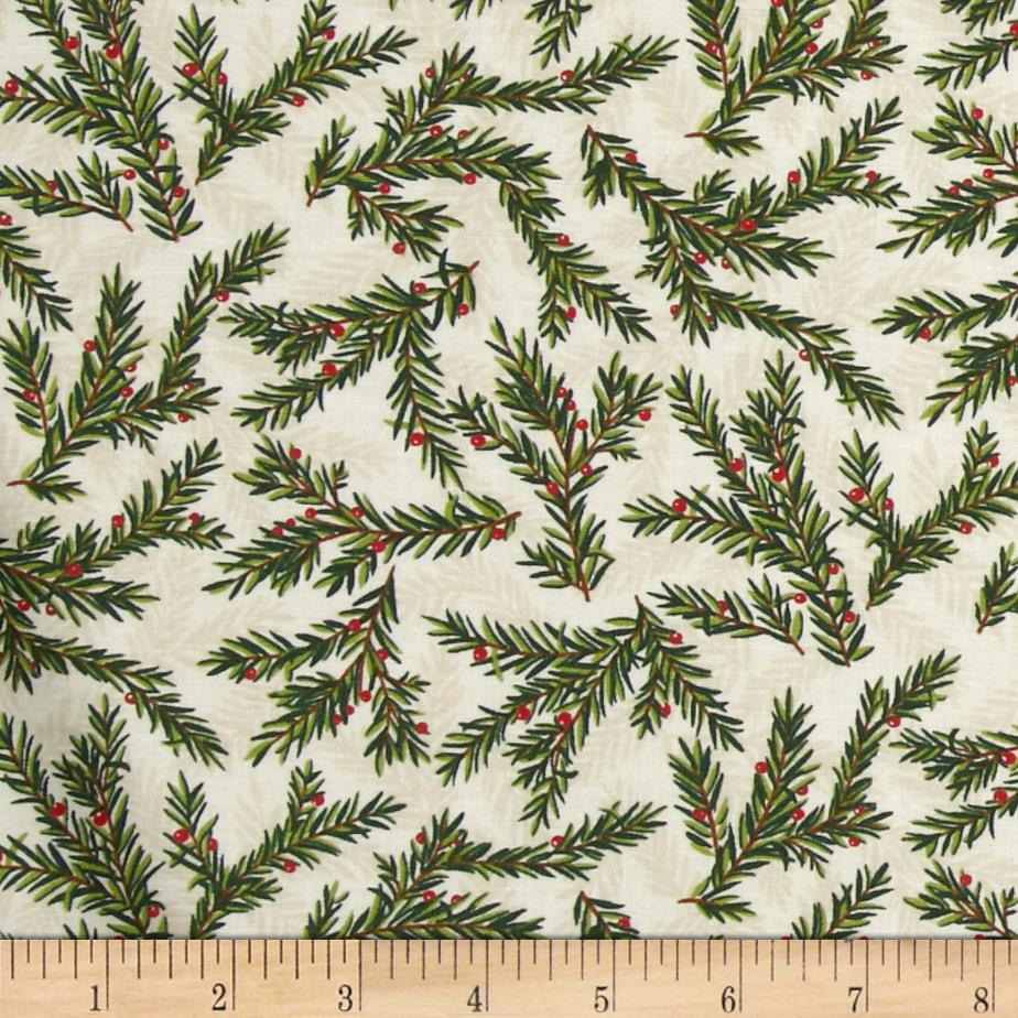 Moda Be Jolly Pine Branches Snowy White