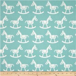 Premier Prints Rocking Horse Twill Canal/White