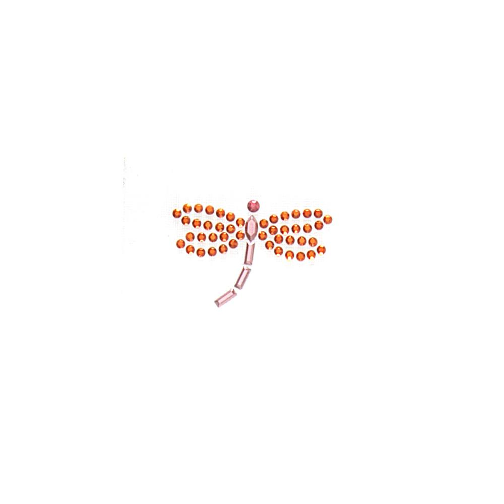 Dragonfly Rhinestud Applique Orange