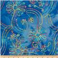 Embroidered Batik Floral Bright/Blue/Multi