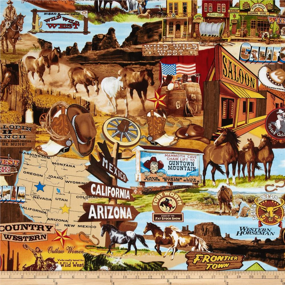 Wild Wild West Western Allover Scenic Multi