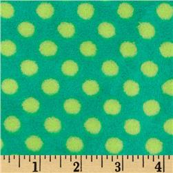 Plush Coral Fleece Polka Dot Emerald/Jade Fabric