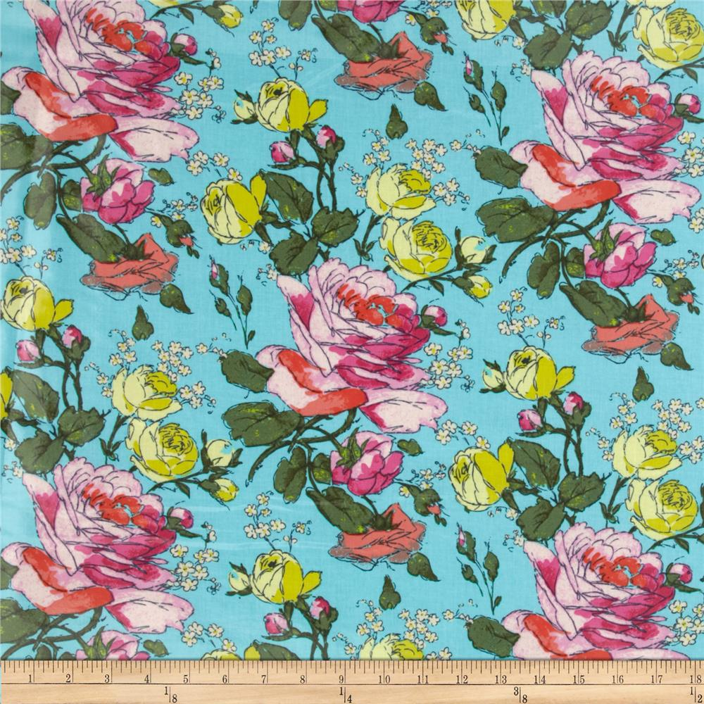 Amy Butler Alchemy Laminated Cotton Sketchbook Roses Sprig Aqua