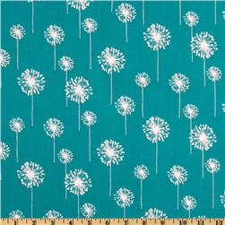 Premier Prints Small Dandelion Turquoise/White Fabric