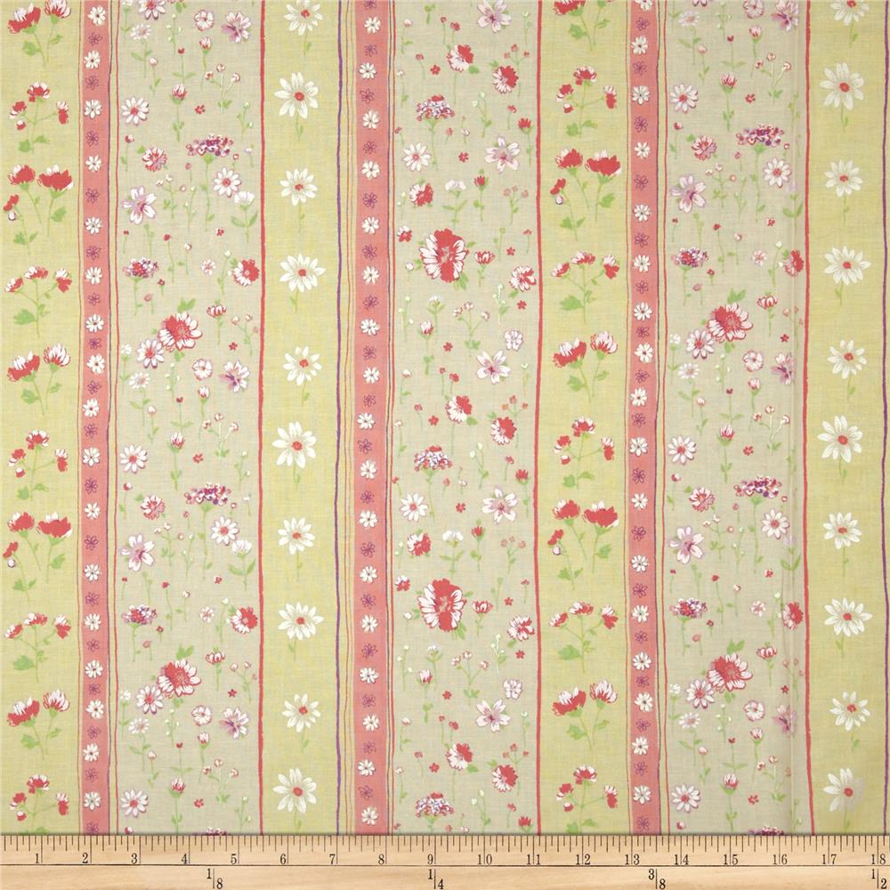 Dainty Blooms Floral Stripe Buttercup/Pearl