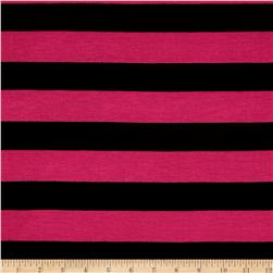 Jersey Knit Stripe Black/Fuscia