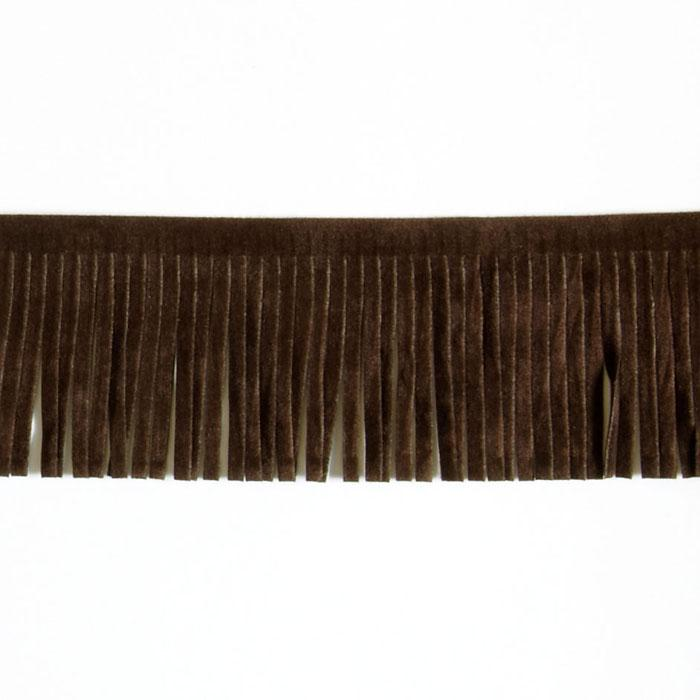 2'' Faux Suede Fringe Trim Brown