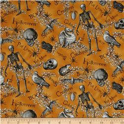 All Hallow's Eve Halloween Motifs Words Orange