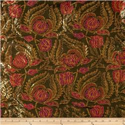 Metallic Brocade Tulips Red