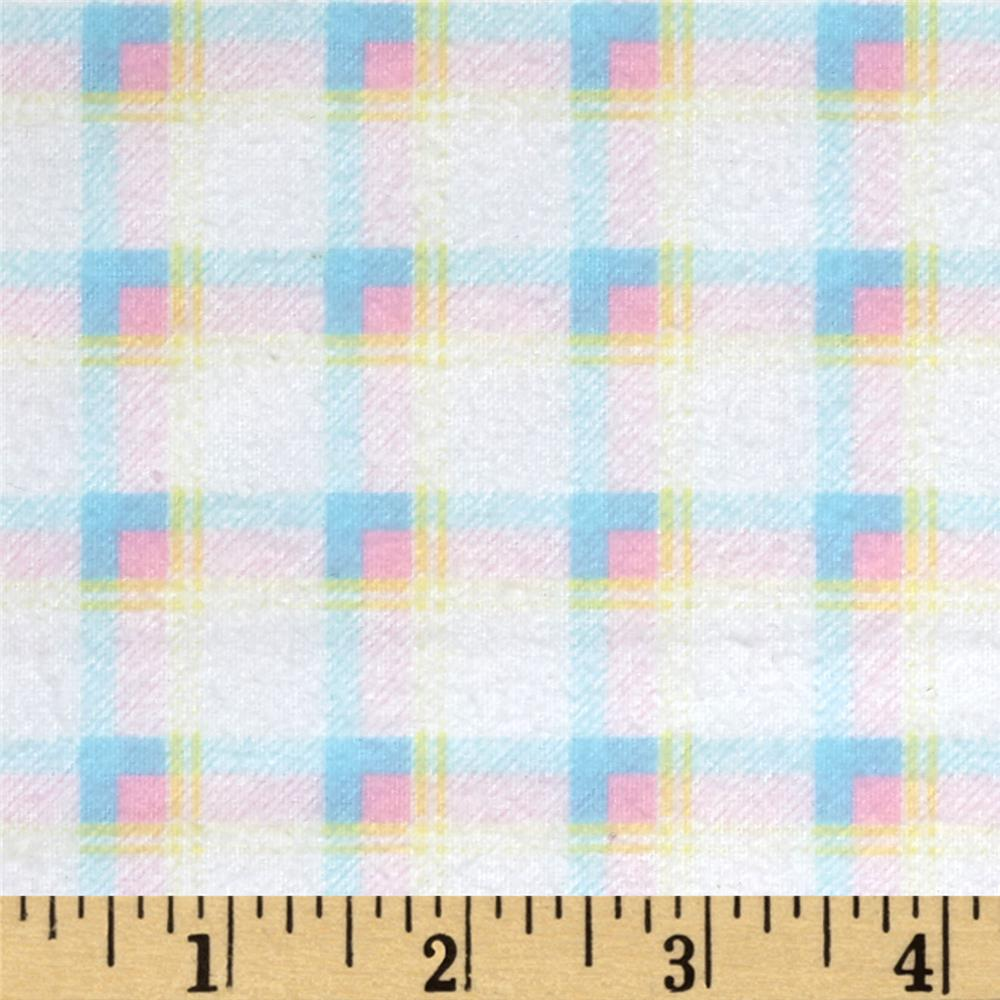 Kanvas Bunny Hop Flannel Soft Plaid White/Pastel