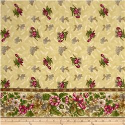 Arabella Rose Double Border Tossed Flowers Tan