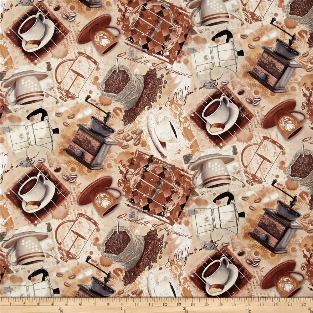 Timeless Treasures Coffee House Coffee Collage Neutral