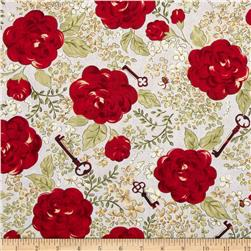 My Secret Garden Flower Blossoms Grey Fabric