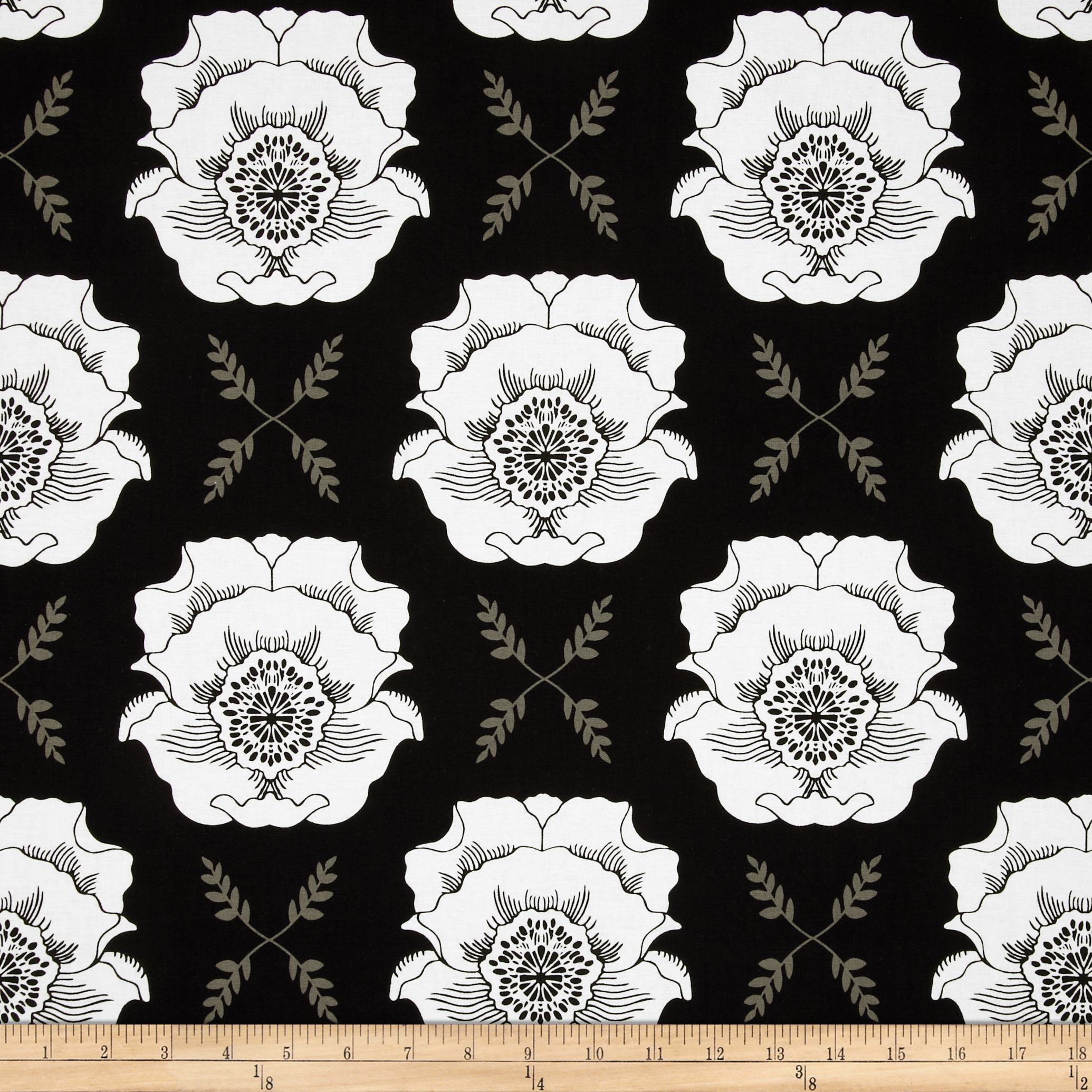 Riley Blake Mod Studio Large Floral Black Fabric