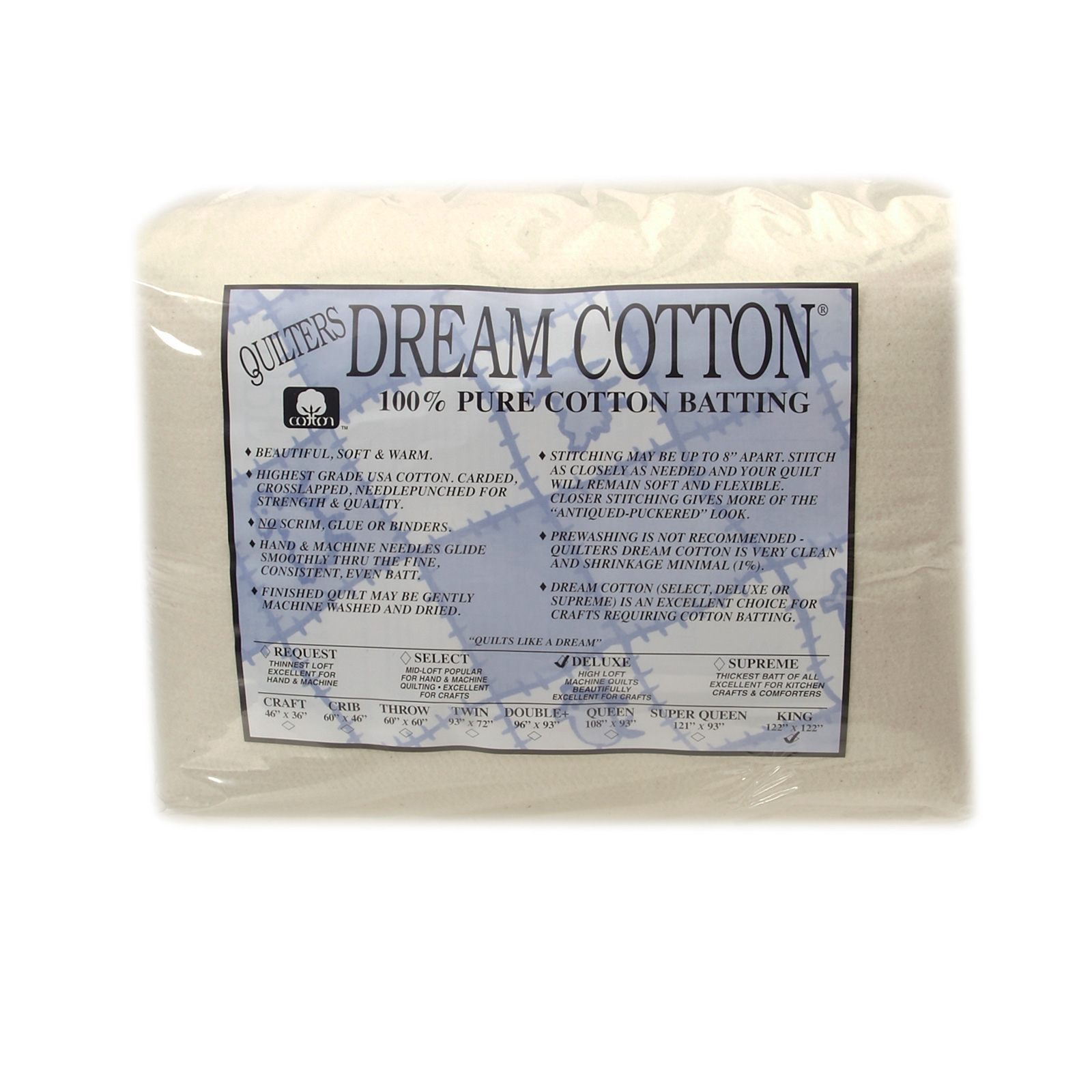 Quilter's Dream Natural Cotton Deluxe Batting (122'' x 120'') King by Quilter's Dream in USA