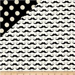 Riley Blake Double Sided Quilted Mustache Cream Fabric