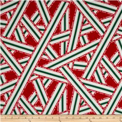 Lecien Happy Holidays Ribbon Print Red